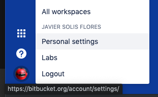bitbucket personal settings